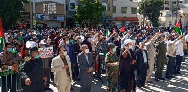 تجمع مردم کرمانشاه در حمایت از مردم فلسطین برگزار شد